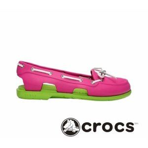 CROCS Pink & Green Beach Line Boat Shoes Size 8